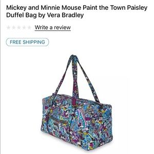 Mickey and Minnie Mouse Vera Bradley duffle